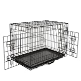"""Haige Folding Metal Dog Crate,24"""" Double-Doors Pet Cage with Heavy Duty Metal Wires, Removable ABS Plastic Floor Tray, Carry Case w/ Handle Review"""