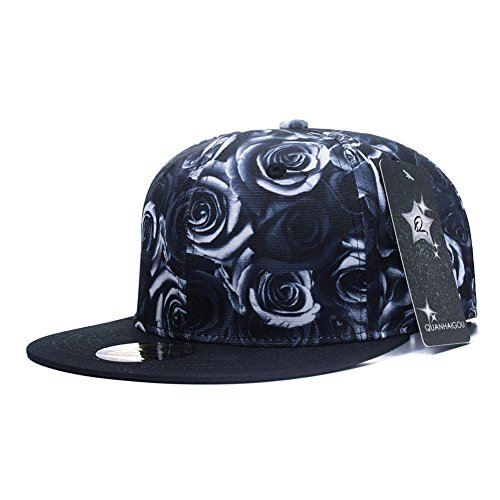 bde9b26ed3d Premium Floral Black White Rose Twill Adjustable Snapback Hat Hip-Hop Flat  Peaked Baseball Caps