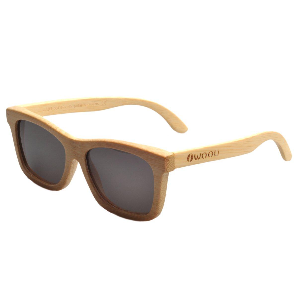 Iwood Handcrafted Moda de bambú Natural Marcos Gris lente polarizada Gafas de sol de madera: Amazon.es: Deportes y aire libre
