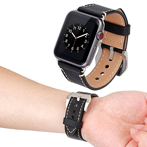 Apple Watch Band, Cowhide Genuine Leather iwatch Replacement Strap for Apple Watch Band 42mm Series 3 Series 2 Series 1 Smart Watch Band Sport Edition Black