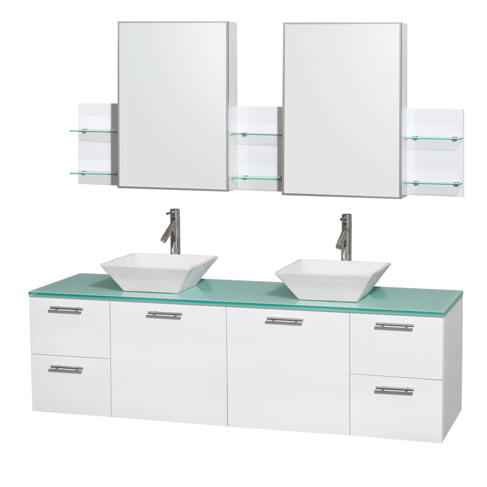 Wyndham Collection Amare 72 inch Double Bathroom Vanity in Glossy White, Green Glass Countertop, Pyra White Sinks, and Medicine Cabinets