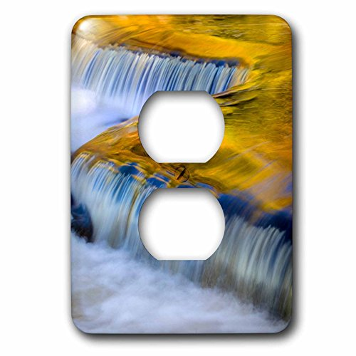 Metal Clock Bond (3dRose Danita Delimont - Waterfalls - Yellow and gold waterfall on the Ontonagon River, Bond Falls, Michigan - Light Switch Covers - 2 plug outlet cover (lsp_279083_6))