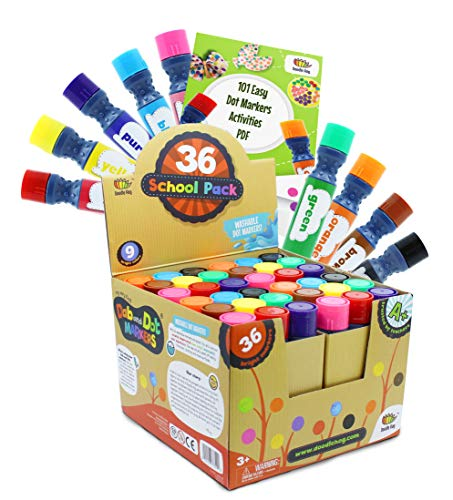 Paint Dabber - Incredible Value Dot Markers Class Pack in 36 Pack, School and Class Supplies of Dabbers, Daubers, Washable Art Markers in Bulk with Free PDF 101 Dot Markers Activities