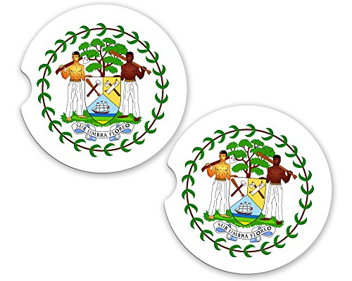 Belize World Flag Coat Of Arms Sandstone Cup Holder Matching Coaster ()
