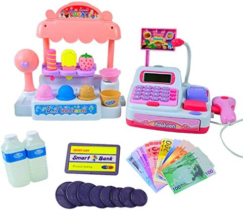 Juguetes Creativos, Zantec Niños juegos de imaginación Toy Set Ice Cream Shop Caja registradora con juguetes y acciones realistas Regalo para niños: Amazon.es: Hogar
