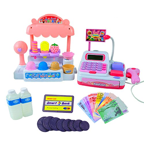Lanlan Children Pretend Play Toy Set Ice Cream Shop Cash Register with Realistic Actions and Sounds Gift for Kids by Lanlan