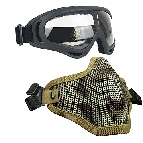 Airsoft Masks- Adjustable Half Metal Steel Mesh Face Mask And UV400 Goggles Set For Hunting, Paintball, Shooting (Desert, 1 Set)