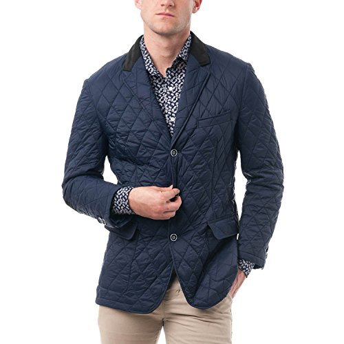 Chama Men's Quilted Notched Lapel Blazer Jacket (2XL, Navy blue)