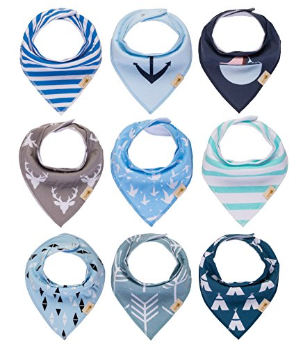 Knotted Fleece Scarf (Baby Bandana Drool Bibs 9-pack for Boys, Girls,Unisex for Infant, Toddlers,