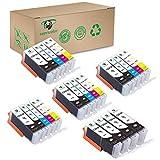 Supricolor PGI-250XL CLI-251XL Ink Cartridges, High Yield Replament Ink for PGI 250XL CLI 251XL Compatible with Pixma MX922 MG6420 MG6620 Printers 24 Pack (4Sets + 4BK)