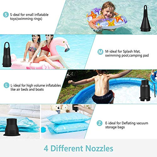 Air Pump for Inflatables, PUMTECK Electric Air Pump with 4 Nozzles, Rechargeable Battery Air Mattress Pump, Pool Toys, Air Mattress Beds, Boats, Swimming Ring, USB/4000mAh