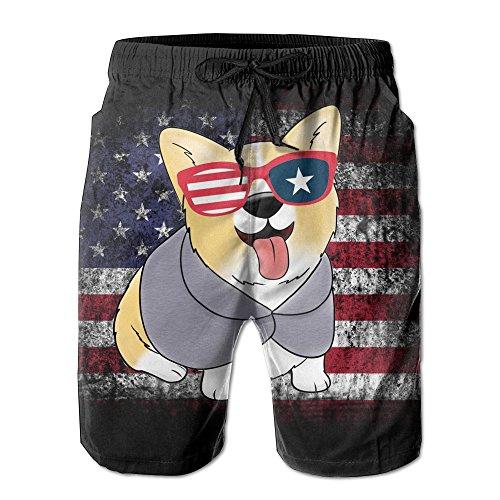 Funny Pembroke Welsh Corgi America Flag Men's Swim Trunks Printed Quick Dry Board Shorts L