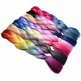 Colored Crochet Hair Extensions HairCrochet Braids Braiding Hair Bundles #1 24inches