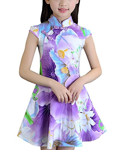 Minlovely Pretty Girls Floral Qipao Chinese Style Cheongsam Costume Dress Purple LotusUS 3T - Chinese Costumes Uk
