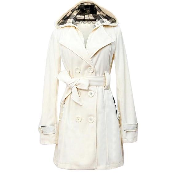 Siswong Abrigos Largos Mujer Baratas Chaqueta Vestir de Vintage con Capucha (Blanco, XXL)