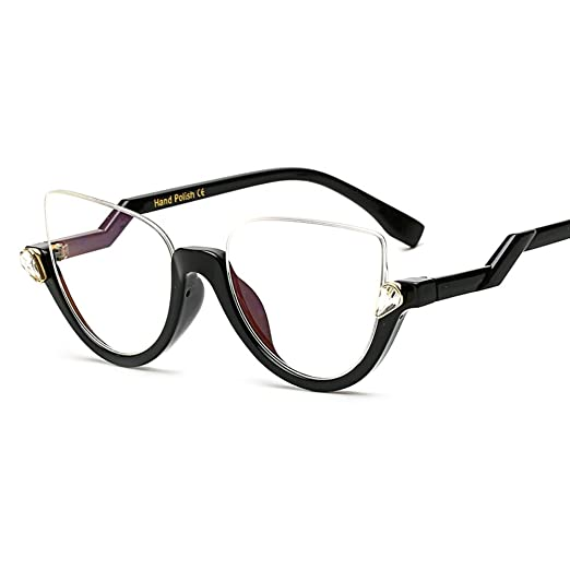 1b32b28fbda Cat Eye Glasses Half Frame Vintage Eyeglasses Women Accessories Transparent  (black)