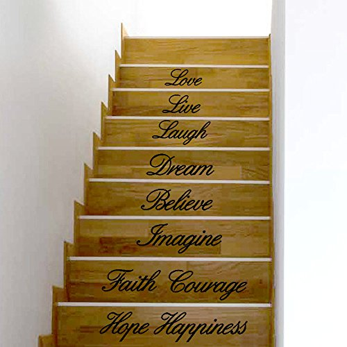 Letters Wall Sticker Stair Decor,Quaanti Stair Sticker Live Laugh Love Dream Believe Imagine Faith Courage Hope Happiness Decal Removable Wall Stickers Stair Decor (Multicolore)]()