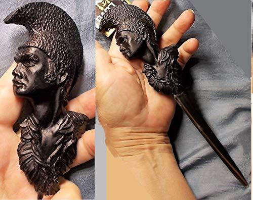 1 Hand Carved Lava Cameo Steel Letter Opener, EXECUTIVE DESK GIFT, Pele Fire Goddess, 4 1/2