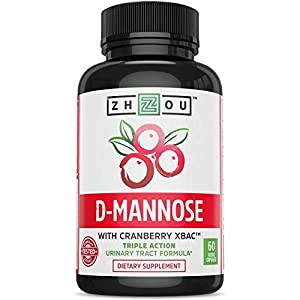 D Mannose with Cranberry Extract & Vitamin C Urinary Tract Formula - Triple Action Complex with Clinically Tested Cranberry XBAC™ for Bacterial Antiadherance & Flushing Impurities - 60 Veggie Capsules