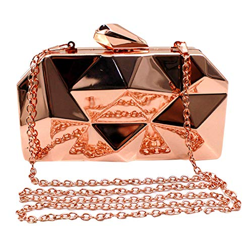 Goodbag Boutique Women Lattice Pattern Metal Handbag Girl Diamond Clutch Purse Chain Mini Shoulder Bag Silver from Goodbag Boutique