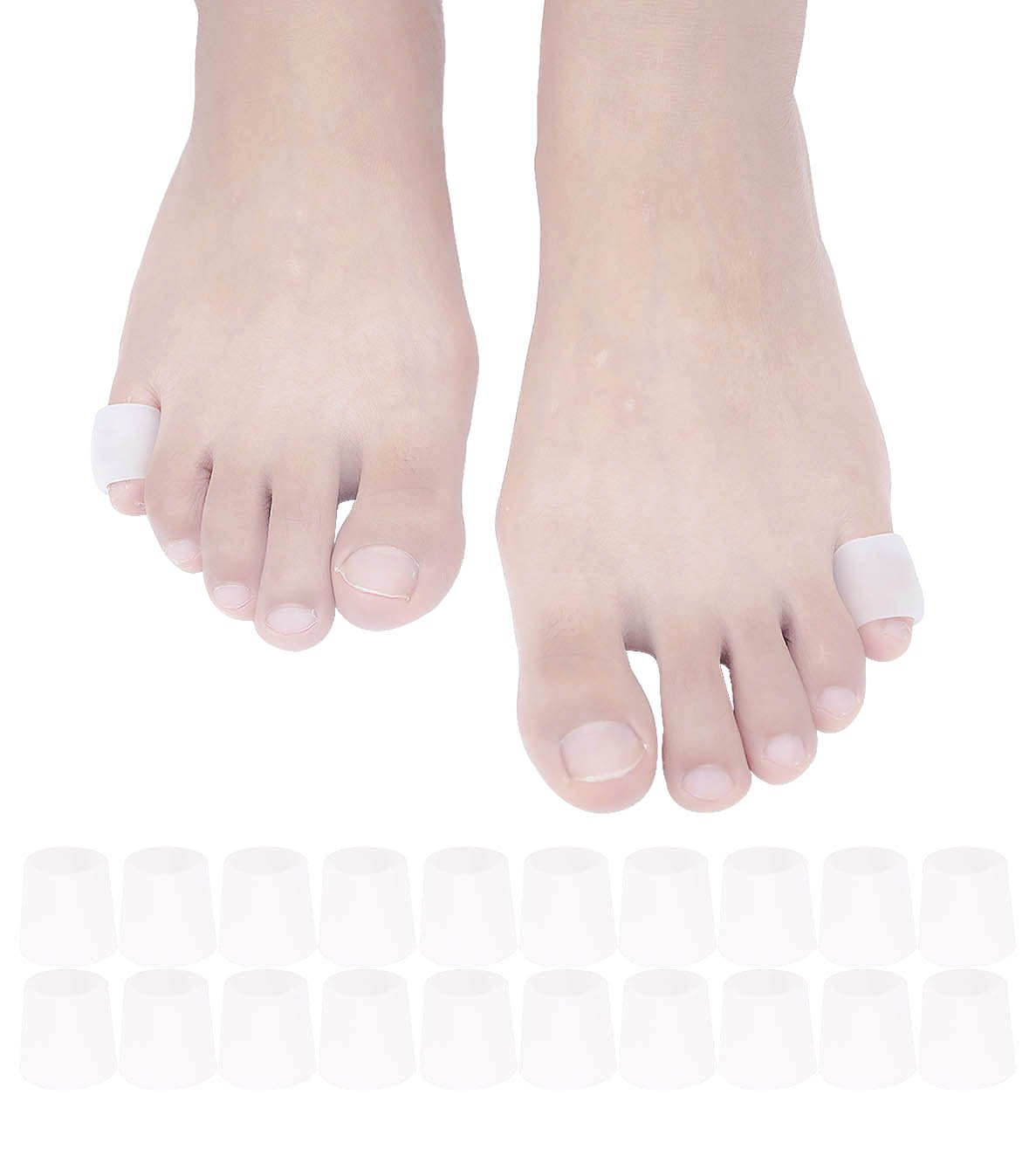 JK.Toes Pinky Toe Sleeves Gel Corn Cushion Pads 10 Pairs/20 Pack Toe Protectors for Blister, Corn, Nail Issue, Reduce Friction(Toe Sleeves)