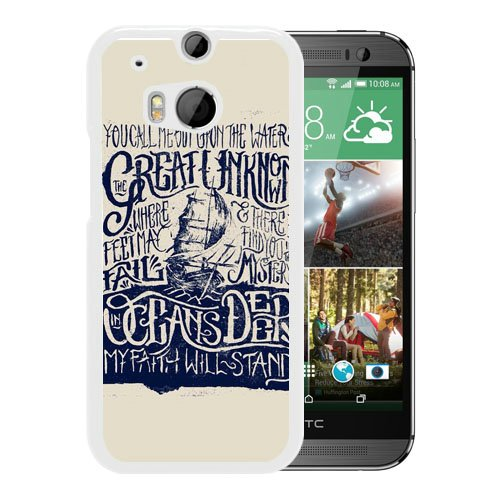HTC One M8 case,Custom Hillsong United Oceans Lyric White HTC One M8 cover (M8 One Htc Otterbox)