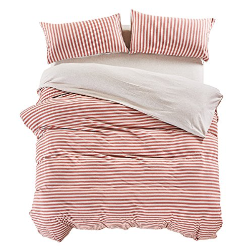 PURE ERA Ultra Soft Cotton Jersey Knit Home Bedding 3 Pieces Duvet Cover Set 1 Comforter Cover and 2 Pillow Shams Breathable Red and Grey Striped Queen