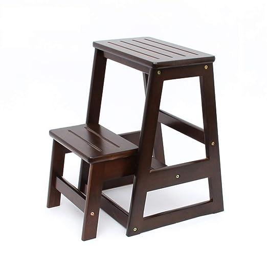 Peldaño de escalera Escalera de madera maciza Taburete de silla Escalera de estantería multifunción Biblioteca plegable para el hogar 2 peldaños (2 colores) Capacidad de 150 kg (color: color nogal): Amazon.es: Hogar