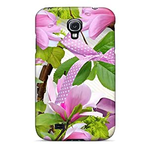 New Galaxy S4 Case Cover Casing(pink Magnolias Ribbons)