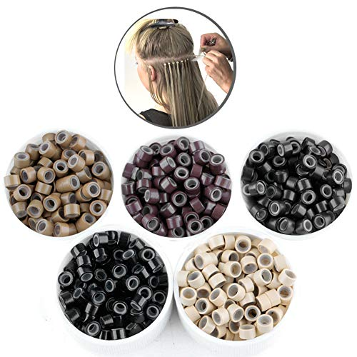 2500pcs Hair Extentions Micro Rings Links Beads, 5mm Silicone Lined Beads for Human Hair Extensions Tool (Human Micro Hair Extensions)