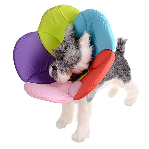 FOREYY Recovery Pet Cone E-Collar for Cats and Small Dogs - Comfortabe Flower Pattern Elizabethan Collar Made From Easy to Clean Fabric and Sponges(Multi-colored,XL)