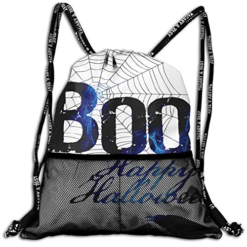 (ANYWN Boo Happy Halloween Free Printable Drawstring Backpack Bags Rucksack with Mesh Pockets for Gym for)