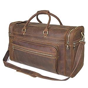 "Polare 24"" Retro Full Grain Leather Duffel Weekender Travel Bag 10"