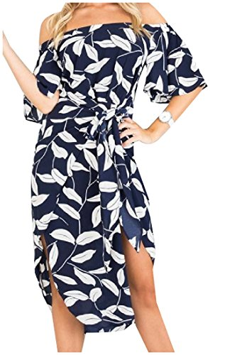 Print Dress Women's Picture Cocktail As Word Shoulder Plus Comfy Split Size wXnxHH8