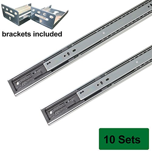 Probrico Brackets Included Rear Mount Drawer Slides 22 Inch Full Extension 22-inch 100 Lb. Sliding System Soft Close,10 Pairs Sets (Richelieu Full Extension Soft Close Drawer Slide)