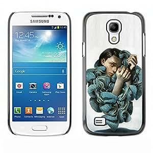 GOODTHINGS (NO PARA S4) Funda Imagen Diseño Carcasa Tapa Trasera Negro Cover Skin Case para Samsung Galaxy S4 Mini i9190 - volantes blusa de la manera arte retrato de la mujer