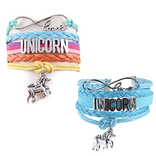 Zoomnovo Unicorn Gifts Pony Horse Bracelets Wristband Handmade Braided Leather Silver Rainbow Infinity Love Charm Bracelet 2 Pack  Rainbow And Blue