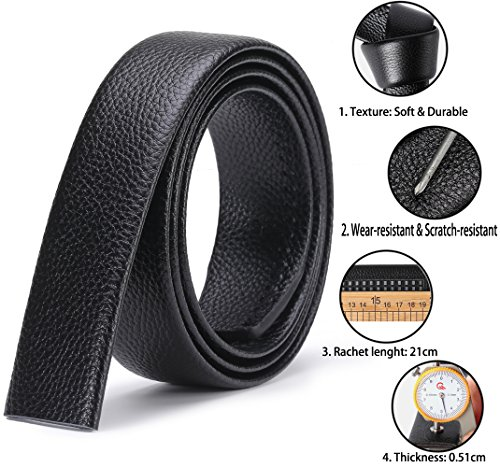 dde5af083d120 ITIEZY Men s Leather Belt Ratchet Automatic Buckle (Sliding Buckle) Belt  Man Designer Black Luxury