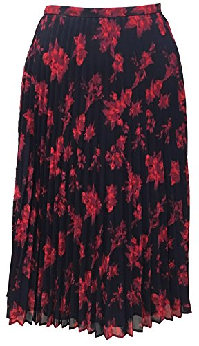 (LAUREN RALPH LAUREN Womens Colyn Chiffon Accordian Pleat A-Line Skirt Navy 16 )