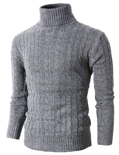 H2H Mens Casual Turtleneck Slim Fit Pullover Sweaters with Twist Patterned Gray US M/Asia L (KMOSWL033) (Gray Wool Turtleneck)