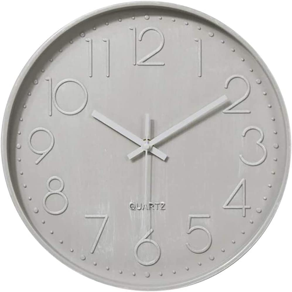 Zaptex 12-Inch Silent Wall Clocks for Living Room Bedroom Office Decor Non-Ticking Quartz Battery Operated Wall Clocks (12 inch, White-A)