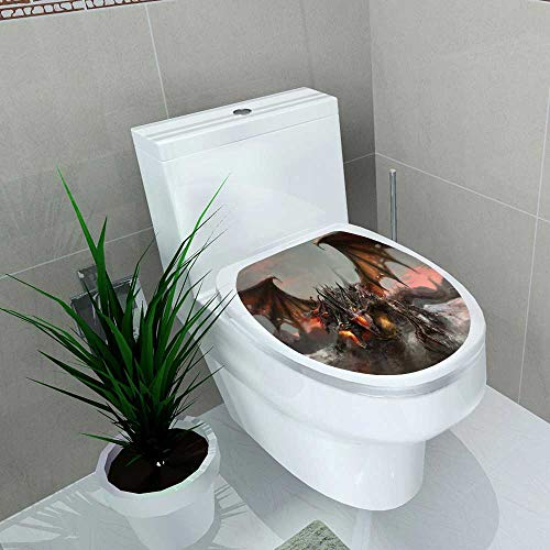 Auraise-home Vinyl Decal World of Three Headed Fire Breathing Dragon Large Monster GothicTheme Grey Decoration for Bathroom Toilet W13 x L13