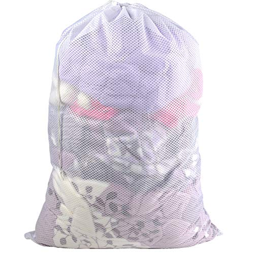 Commercial Lead Free Diamond Mesh Laundry Bag - 24 x 36 inches-Sturdy Large Heavy Duty Drawstring Bag. Durable White Net Material, Ideal Machine Washable Bag for Camping,College, Dorm, Apartment,Balls