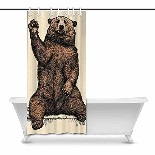 InterestPrint Funny Bear Fabric Bathroom Decor Shower Curtain Set with Hooks, 36 x 72 Inches