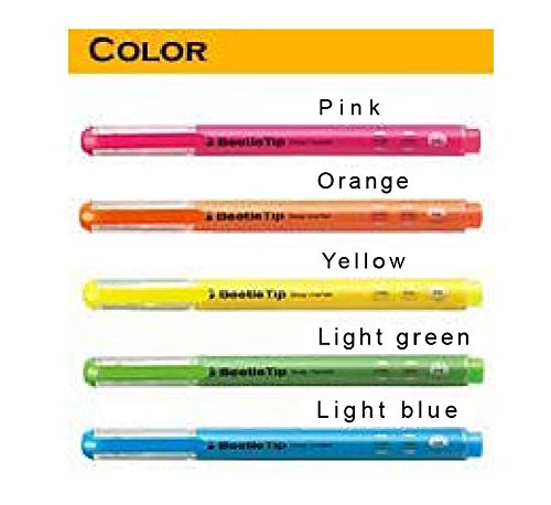 KOKUYO Highlighter Beetle Tip 3 Way Marker 5 Corer 12 PCS ( 3/Pink, 3/Yellow, 2/Orange, 2/Green, 2/Blue) by Kokuyo (Image #1)
