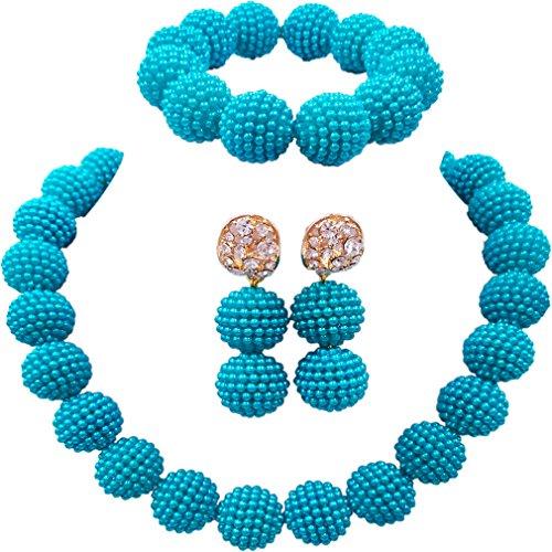 laanc Fashion Women 1 Rows Multicolor Plastic Imitation Pearl Nigerian Wedding Beads African Jewelry Sets