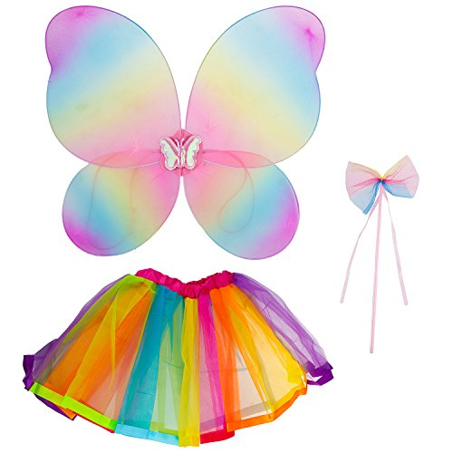 Lux Accessories Rainbow Fairy MIni Skirt Butterfly Wing Ribbon Bow Costume Set ()