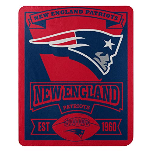 The Northwest Company Officially Licensed NFL New England Patriots Marque Printed Fleece Throw Blanket, 50' x 60', Multi Color