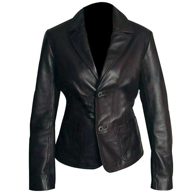 Amazon.com: Casual Blazer - Chaqueta de piel sintética para ...