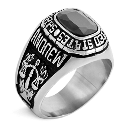 Aooaz Stainless Steel Rings For Men Silver Black Handmade Tribal 'USMC' Agate Band Size 12 Free Engraving